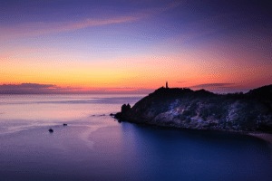Scenic view of ocean during dawn.: Scenic view of ocean during dawn.