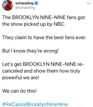 Fucking, Tumblr, and Brooklyn: scharpling  @scharpling  The BROOKLYN NINE-NINE fans got  the show picked up by NBC.  They claim to have the best fans ever.  But I know they're wrong!  Let's get BROOKLYN NINE-NINE re  canceled and show them how truly  powerful we are!  We can do this!  #ReCancelBrooklynNine Nine heteromanticmarkiplier: messiestobjects: funnily enough this is the va for greg universe. It's fucking who