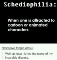 ~Piper the Dauntless Wizard: Schediophilia:  When one is attracted to  cartoon or animated  characters.  obsessive-fangirl-otaku  Well, at least Iknow the name of my  incurable disease. ~Piper the Dauntless Wizard
