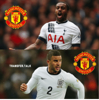 Manchester United want 26-year-old Tottenham full-backs Kyle Walker and Danny Rose.: SCHES  UNITED  TRANSFER TALK  AIA  iCHES  NITED Manchester United want 26-year-old Tottenham full-backs Kyle Walker and Danny Rose.