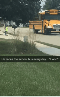 "Friends, School, and I Won: SCHOOL BUS  He races the school bus every day... ""I won"" Our friends son racing the bus"