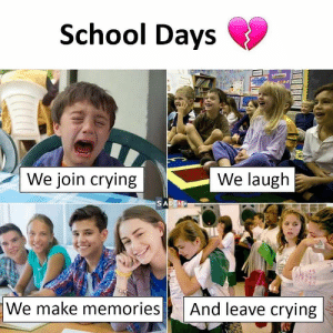 Crying, Meme, and School: School Days  We join crying  We laugh  We make memoriesAnd leave crying Meme Battle: School Days