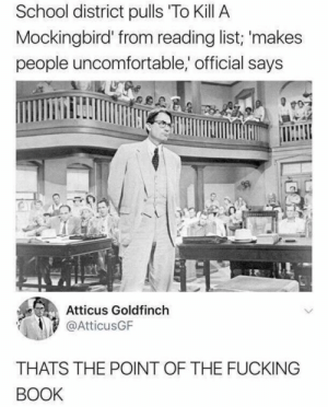Meirl by MussoIiniTorteIIini MORE MEMES: School district pulls To Kill A  Mockingbird' from reading list; 'makes  people uncomfortable, official says  Atticus Goldfinch  @AtticusGF  THATS THE POINT OF THE FUCKING  BOOK Meirl by MussoIiniTorteIIini MORE MEMES