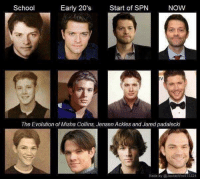 School  Early 20's  Start of SPN  NOW  The Evolution of Misha Collins, Jensen Ackles and Jared padalecki  Made by Jackie WhD515324 - Not Moose