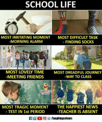 Friends, Journey, and Life: SCHOOL LIFE  MOST IRRITATING MOMENT  MORNING ALARM  MOST DIFFICULT TASK  - FINDING SOCKS  MOST LOVELY TIME  MEETING FRIENDS  MOST DREADFUL JOURNEY  WAY TO CLASS  AUGHING  MOST TRAGIC MOMENT  -TEST IN 1st PERIOD  THE HAPPIEST NEWS  -TEACHER IS ABSENT  2 (2回參/laughingcolours