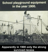 Apparently, Memes, and Recess: School playground equipment  in the year 1900.  Apparently in 1900 only the strong  survived recess tbt I remember a time when an hour lunch was enough time to have a foot race , a fist fight , play pencil crack, beat box and make beats on the lunch table and eat lunch. Those were the days throwbackthursday 📷@740parkave.nue 17thsoulja BlackIG17th