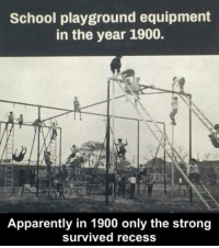 Memes, 🤖, and Recession: School playground equipment  in the year 1900.  Apparently in 1900 only the strong  survived recess Can you imagine this at your school or playground?