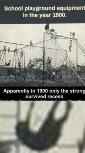 Apparently, Omg, and Recess: School playground equipment  in the year 1900.  Apparently in 1900 only the strong  survived recess omg-humor:  Oh pole, for why thou hath betrayth me ?