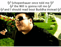 schopenhauer: Schopenhauer once told me  the Will is gonna roll me  and I should read bout Buddha instead
