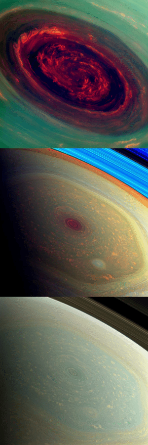 sci-universe:  On 27 November 2012, a hurricane  was identified at the heart of Saturn's hexagonal jet stream at the planet's north pole by the international Cassini spacecraft. The eye of the hurricane spans about 2000 km (1,250 miles) and the clouds at the outer edge are travelling at 540 km/h (330 mph). (Credit: ESA/NASA/JPL-Caltech/SSI): sci-universe:  On 27 November 2012, a hurricane  was identified at the heart of Saturn's hexagonal jet stream at the planet's north pole by the international Cassini spacecraft. The eye of the hurricane spans about 2000 km (1,250 miles) and the clouds at the outer edge are travelling at 540 km/h (330 mph). (Credit: ESA/NASA/JPL-Caltech/SSI)