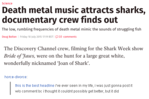 In other newsomg-humor.tumblr.com: Science  Death metal music attracts sharks,  documentary crew finds out  The low, rumbling frequencies of death metal mimic the sounds of struggling fish  Doug Bolton Friday 10 July 2015 17:19 BST 10 comments  The Discovery Channel crew, filming for the Shark Week show  Bride of Jaws, were on the hunt for a large great white,  wonderfully nicknamed 'Joan of Shark'  horce-divorce:  this is the best headline i've ever seen in my life, i was just gonna post it  wio comment bc i thought it couldnt possibly get better, but it did In other newsomg-humor.tumblr.com