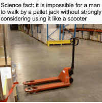 Funny, Scooter, and Science: Science fact: it iS impossible for a man  to walk by a pallet jack without strongly  considering using it like a scooter I say: no. via /r/funny https://ift.tt/2PqNlE8