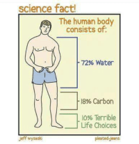Bodies , Facts, and Life: science fact!  The human body  consists of:  72% Water  18% Carbon  10% Terrible  Life Choices  Jeff wysaski  pleated Jeans
