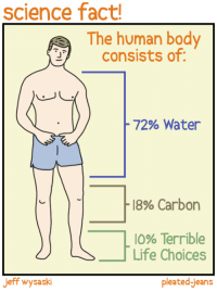 Memes, Consistency, and 🤖: Science fact!  The human body  consists of  72% Water  18% Carbon  lo% Terrible  Life Choices  Jeff wysaski  pleated Jeans Scientific fact, Tysonists. This is your body.