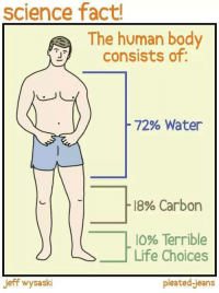 Life, Science, and Water: science fact!  The human body  consists of  J'  -72% Water  -18% Carbon  10% Terrible  Life Choices  jeff wysaski  pleated-jeans