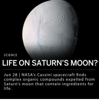 "Complex, Life, and Memes: SCIENCE  LIFE ON SATURN'S MOON?  Jun 28 | NASA's Cassini spacecraft finds  complex organic compounds expelled from  Saturn's moon that contain ingredients for  life A new analysis of data collected by NASA's Cassini spacecraft shows jets of ice and saltwater that contain complex organic compounds gushing from Saturn's moon Enceladus. Scientists believe icy plumes coming out of Saturn's ice-covered moon could contain the essential building blocks of living beings. ___ The Cassini spaceship used its Cosmic Dust Analyzer and its Ion and Neutral Mass Spectrometer to gather data while flying through Saturn's outermost ring and moon (Enceladus). Cassini's Ion and Neutral Mass Spectrometer (IMS) found small organic molecules such as methane, as well as molecular hydrogen - a chemical characteristic of hydrothermal activity that provides important fuel for microbes living around seafloor vents on Earth. ___ The spaceship's Cosmic Dust Analyzer (CDA) also found molecules too large for analysis, which suggests there are larger compounds that went undetected. Scientists think they could be polymers, which make up DNA and proteins. ___ Astrochemist Morgan Cable, the deputy project scientist for a concept called Enceladus Life Finder, said: - ""Enceladus is screaming at us that it has all the ingredients for life as we know it: water, chemistry, organics. We have to go back."" ___ Photo: NASA"