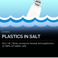 "Memes, No Escape, and Science: SCIENCE  PLASTICS IN SALT  Oct 18 New research found microplastics  in 90% of table salt. New research shows that microplastic, barely visible bits of plastic, is found in 90% of table salt. Researchers tested 39 brands of salt and found that 36 of those those brands had plastic in their product. According to the study, an adult consumes on average of 2,000 microplastics every year. A separate report published Wednesday states that it is unclear what effects consuming microplastics may have on humans. ___ ""It's clear that there is no escape from this plastics crisis, especially as it continues to leak into our waterways and oceans,"" said Mikyoung Kim of the environmental organization, Greenpeace."