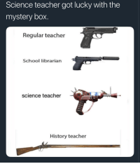 Blackpeopletwitter, School, and Teacher: Science teacher got lucky with the  mystery box.  Regular teacher  School librarian  science teacher  History teacher <p>Kinda look like the gun off the jimmy neutron game. (via /r/BlackPeopleTwitter)</p>
