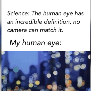 Camera, Definition, and Match: Science: The human eye has  an incredible definition, no  camera can match it.  My human eye: Waaaaay better