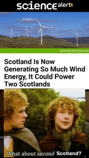 I think one is enough by cheesytanker MORE MEMES: sciencealerte  (keithjardine/iStock)  Scotland Is Now  Generating So Much Wind  Energy, It Could Power  Two Scotlands  What about second Scotland? I think one is enough by cheesytanker MORE MEMES