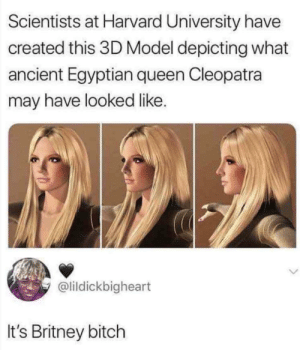 Bitch, Harvard University, and Queen: Scientists at Harvard University have  created this 3D Model depicting what  ancient Egyptian queen Cleopatra  may have looked like  @lildickbigheart  It's Britney bitch It's 67% plastic
