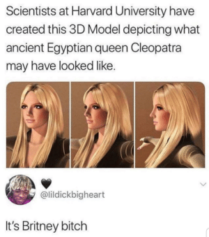 Bitch, Harvard University, and Queen: Scientists at Harvard University have  created this 3D Model depicting what  ancient Egyptian queen Cleopatra  may have looked like.  @lildickbigheart  It's Britney bitch I see that mysteries are being unlocked