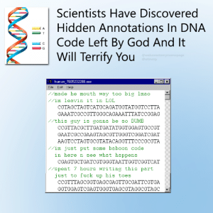 Dumb, God, and Lmao: Scientists Have Discovered  Hidden Annotations In DNA  Code Left By God And It  Will Terrify You  human_7605232288.exe  File Edit Help  made he mouth way too big lmao  /im leavin it in LOL  CGTAGCTAGTCATGCAGATGGTATGGTC CTTA  GAAATCGCCGTTGGGCAGAAATTTATCCGGAG  //this guy is gonna be so DUMB  CCGTTACGCTTGATGATATGGTGGAGTGCCGT  GAATCGCCGAAGTAGCGTTGGGTCGGATCGAT  AAGTCCTAGTGCGTATACAGGTTTCCCGCGTA  im just put some baboon code  in here n see what happens  CGAGTGCTGATCGTGGGTAATTGGTCGGTCAT  spent 7 hours writing this part  just to fuck up his toes  CCGTTTAGCGGTGAGCGAGTTGCGATTCGTG  GGTGGAGTCGAGTGGGTGAGCGTAGGCGTAGC Scientists have discovered hidden annotations in DNA code left by God and it will terrify you