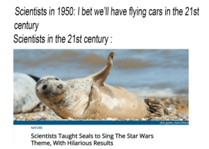 Be Like, Cars, and I Bet: Scientists in 1950: I bet we'll have flying cars in the 21st  century  Scientists in the 21st century  (the_guitar_mann/iStock  NATURE  Scientists Taught Seals to Sing The Star Wars  Theme, With Hilarious Results Scientists be like...