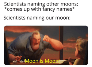 How creative of them: Scientists naming other moons:  *comes up with fancy names*  Scientists naming our moon:  Moon is Moont How creative of them