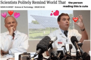 Cute Cute: Scientists Politely Remind World That  NEWS IN BRIEF Science &Technology ISSUE 50-20  the person  reading this is cute  cute