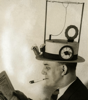 scifiseries:  c.1930: Portable radio, with little loudspeaker and an antenna, built into a straw hat, smoking materials optional: scifiseries:  c.1930: Portable radio, with little loudspeaker and an antenna, built into a straw hat, smoking materials optional