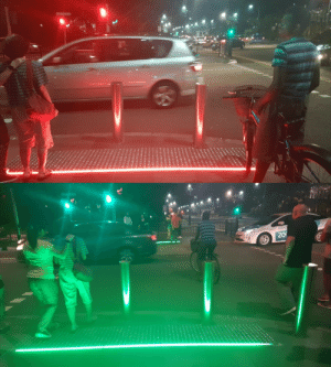 Phone, Tumblr, and Blog: scifiseries:  Cross lights on ground so people can see it when using their phone (x-post /r/mildlyinteresting)