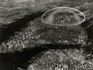 scifiseries:  In 1960, Buckminster Fuller proposed the idea of a geodesic dome surrounding Manhattan that would regulate weather and decrease pollution.: scifiseries:  In 1960, Buckminster Fuller proposed the idea of a geodesic dome surrounding Manhattan that would regulate weather and decrease pollution.