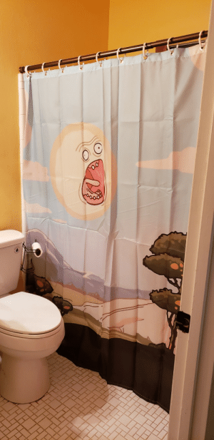 Shower, Tumblr, and Blog: scifiseries:  Just bought a new house and found the perfect shower curtain to compliment the yellow paint.