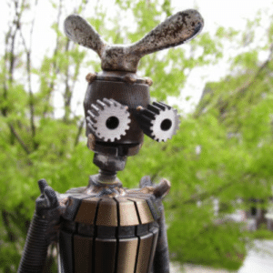 Cute, Tumblr, and Blog: scifiseries:  Skunkadelia, Steel Sculptures of Cute Robots.