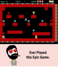 Memes, 🤖, and Epic: Score: 12  LEVEL  DAVES  Ever Played  this Epic Game. Twitter: BLB247 Snapchat : BELIKEBRO.COM belikebro sarcasm meme Follow @be.like.bro