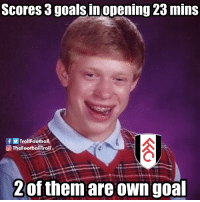Bad, Memes, and Goal: Scores 3goals in opening 23 mins  TrollFootball  Th  eFootballTroll  2 of them are own goal Bad luck Fulham https://t.co/bouskVHAS4
