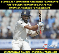 Pujara 💟: SCORES ATA LOW STRIKE RATE WHEN TEAM WANTS  HIM TO BUILD THE INNINGS& PLAYS FAST  WHEN TEAMS NEEDS TO ACCELERATE  Cricket  Shots  CHETESHWAR PUJARA THE IDEAL TEAM MAN Pujara 💟