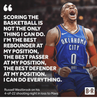 Basketball, Confidence, and Russell Westbrook: SCORING THE  BASKETBALL IS  NOT THE ONLY  THING I CAN DO  I'M THE BEST  REBOUNDER AT  MY POSITION,  THE BEST PASSER  AT MY POSITION,  THE BEST DEFENDER  AT MY POSITION.  I CAN DO EVERYTHING  OKLAHOMA  CITY  OKC  Russell Westbrook on his  4-of-22 shooting night in loss to Mavs  B-R Russ is never short on confidence.