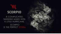 Hurricane, Scorpio, and Storm: SCORPIO  IS COMPLICATED  SUNSHINE MIXED WITH  A LITTLE HURRICANE.  SCORPIO  IS THE PERFECT STORM.