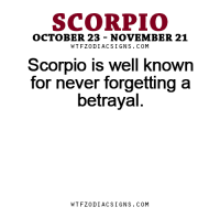 Business, Free, and Horoscope: SCORPIO  OCTOBER 23 NOVEMBER 21  W T FZ0DI AC SIGNS COM  Scorpio is well known  for never forgetting a  betrayal  W TFZ0 DIAC SIGNS COM Apr 4, 2017. Your business situation is uncertain and complicated. Disregarding these obstacles, you are  ... ...FOR FULL HOROSCOPE VISIT: http://horoscope-daily-free.net/scorpio