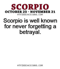 Apr 15, 2016. Even though you had quite a good cash flow, it was hard for you to refrain from spending money. Due to the lack of self-control, you bring yourselves into financial  .. ...FOR FULL HOROSCOPE VISIT: http://horoscope-daily-free.net/scorpio: SCORPIO  OCTOBER 23 NOVEMBER 21  WTFZODIACSIGNS. COM  Scorpio is well known  for never forgetting a  betrayal  WTFZODIACSIGNS. CONM Apr 15, 2016. Even though you had quite a good cash flow, it was hard for you to refrain from spending money. Due to the lack of self-control, you bring yourselves into financial  .. ...FOR FULL HOROSCOPE VISIT: http://horoscope-daily-free.net/scorpio