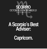 Best, Capricorn, and Free: SCORPIO  OCTOBER 23- NOVEMBER 21  Z o d i a c M i n d c o m  A Scorpio's Best  Adviser:  Capricorn. Apr 15, 2017. You are in conflict with yourself, and the result is uncertain. You are working on the improvement of your own character. This is the road to happiness and .. ...FOR FULL HOROSCOPE VISIT: http://horoscope-daily-free.net