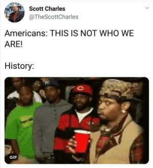 Dank, Gif, and Memes: Scott Charles  @TheScottCharles  Americans: THIS IS NOT WHO WE  ARE!  History  GIF Why you always lyin by ChronicallyChilll MORE MEMES