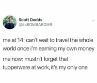 Dank, Money, and Work: Scott Dodds  @itsBOMBARDIER  me at 14: can't wait to travel the whole  world once i'm earning my own money  me now: mustn't forget that  tupperware at work, it's my only one Expectation vs reality