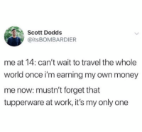 Money, Work, and Travel: Scott Dodds  @itsBOMBARDIER  me at 14: can't wait to travel the whole  world once i'm earning my own money  me now: mustn't forget that  tupperware at work, it's my only one Expectation vs reality