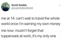 Money, Work, and Travel: Scott Dodds  @itsBOMBARDIER  me at 14: can't wait to travel the whole  world once i'm earning my own money  me now: mustn't forget that  tupperware at work, it's my only one Me Irl