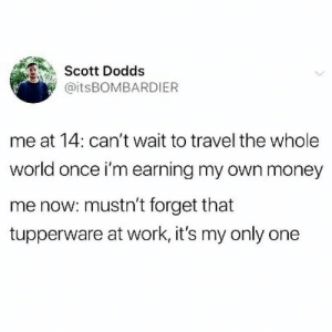 Funny, Money, and Tumblr: Scott Dodds  @itsBOMBARDIER  me at 14: can't wait to travel the whole  world once i'm earning my own money  me now: mustn't forget that  tupperware at work, it's my only one