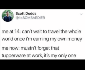 Money, Work, and Travel: Scott Dodds  @itsBOMBARDIER  me at 14: can't wait to travel the whole  world once i'm earning my own money  me now: mustn't forget that  tupperware at work, it's my only one So accurate it hurts