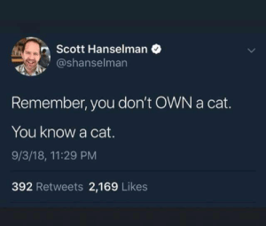 As a cat owner..er knower.. can verify: Scott Hanselman  @shanselman  Remember, you don't OWN a cat.  You know a cat.  9/3/18, 11:29 PM  392 Retweets 2,169 Likes As a cat owner..er knower.. can verify